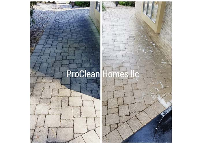 before and after brick paver cleaning in Royal Oak